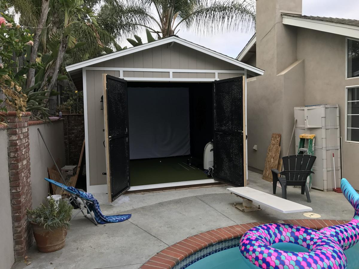 Golf simulator in backyard